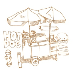 Street food hot dog stand hand drawn vector