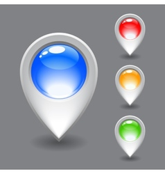 Set of white map pointer icon vector