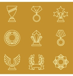 Trophy and awards icons set in linear style vector