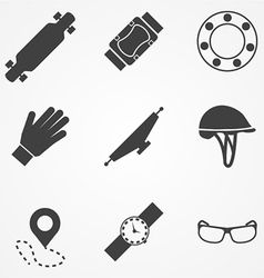 Icons for accessories for longboarders vector