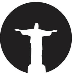 Silhouette of a statue to jesus christ in rio de vector