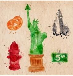 New york symbols crumled paper vector