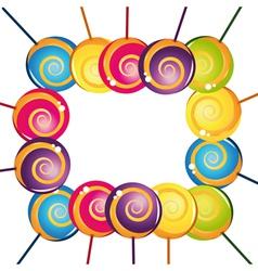 Colorful delicious lollipop collection frame vector