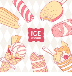 The card with ice cream vector