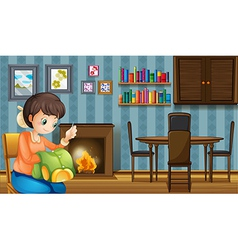 A mother sewing near the fireplace vector