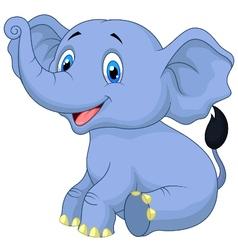 Cute baby elephant cartoon sitting vector
