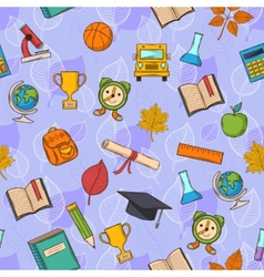 Seamless pattern back to school on purple vector