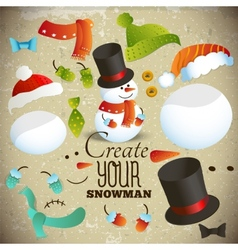 Create your snowman set of elements for collage vector