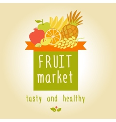 Fruit market tasty and healthy editable template vector