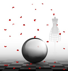 Glass ball and red petals vector