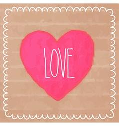 Pink watercolor heart on cardboard vector