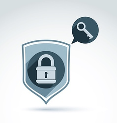 Padlock lock and key safety theme icon with a vector