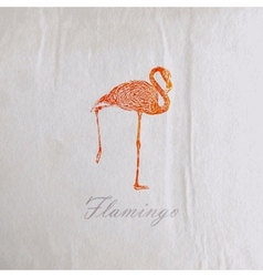 Vintage of a pink flamingo on the old wrinkled vector
