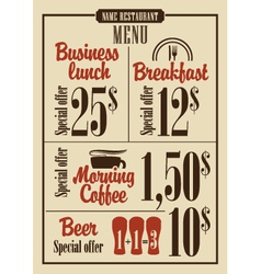 Menu prices vector