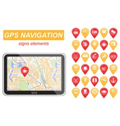 Global positioning system navigation infographic vector