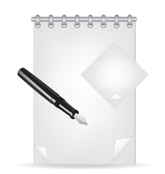 Notebook and fountain pen vector