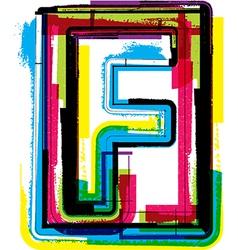Colorful grunge font letter f vector