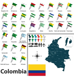 Colombia map with flags vector