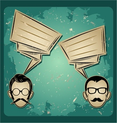 Chat two people faces with mustaches and eyeglass vector