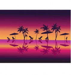 Night beach scene vector