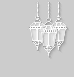 Paper lanterns on gray background vector