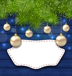 Navidad greeting card with golden balls and fir vector