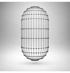 Wireframe mesh polygonal capsule vector