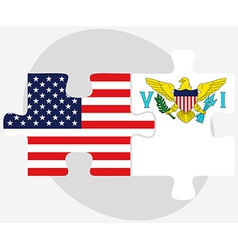 Usa and united states virgin islands flags in vector