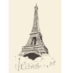 Eiffel tower paris france engraved hand drawn vector