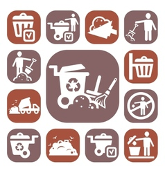 Color garbage icons set vector