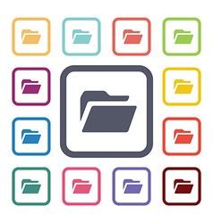 Folder flat icons set vector