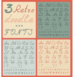 Set of three retro doodle fonts vector