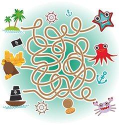 Sea animals boats pirates sea objects collection vector