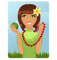 Eco girl with berry necklace vector