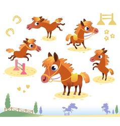 Set of bay horses vector