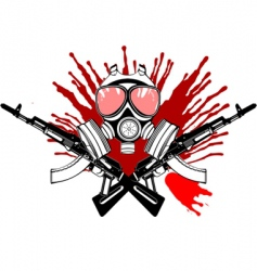 Gas mask gun and blood vector