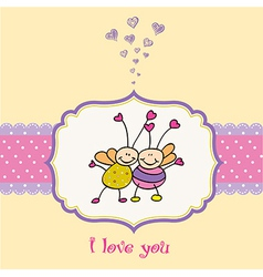 Love card with bees vector