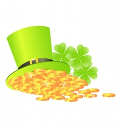 Green hat with golden coins vector