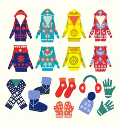 Winter clothes and accessories vector