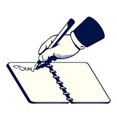 Retro writing hand vector