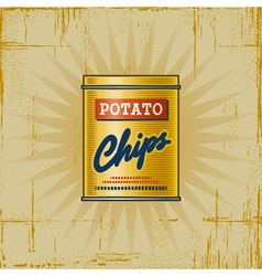 Retro potato chips can vector