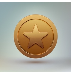 Coin with star isolated on gray background vector