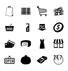 Market black and white flat icons set vector