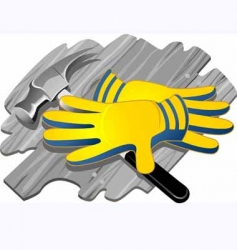Gloves and steel equipment vector