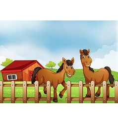 Horses inside the wooden fence with a barn vector