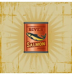 Retro salmon can vector