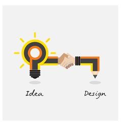 Creative pencil and light bulb design vector