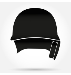 Silhouette symbol of classic baseball helmet front vector