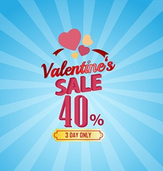 Valentines day sale 40 percent typographic vector