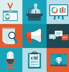Conference icons in flat style vector